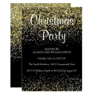 Convites da festa de Natal do brilho do preto & do
