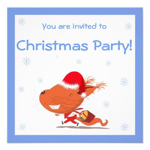 Convites da festa de Natal dos miúdos com esquilo