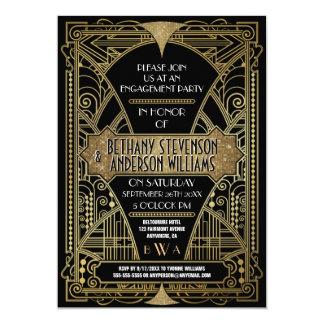 Convites da festa de noivado do art deco do ouro