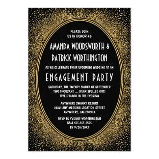 Convites da festa de noivado do art deco do preto