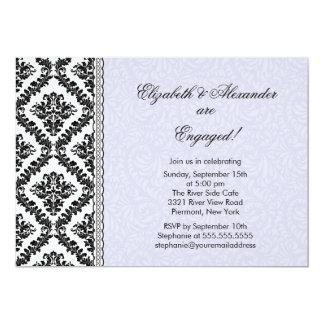 Convites da festa de noivado do damasco roxos