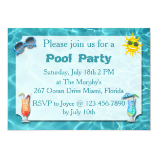 Convites da festa na piscina