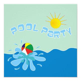 Convites da festa na piscina da bola de praia convite quadrado 13.35 x 13.35cm