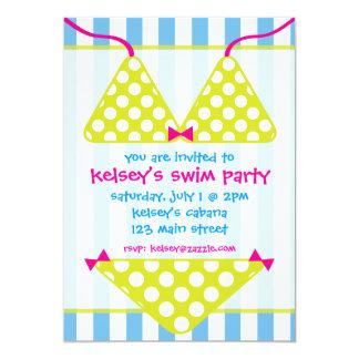 Convites da festa na piscina da natação do roupa