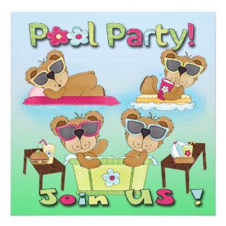 Convites da festa na piscina do urso de ursinho