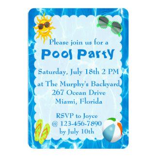 Convites da festa na piscina do verão