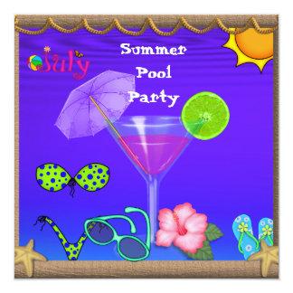 Convites da festa na piscina do verão de julho