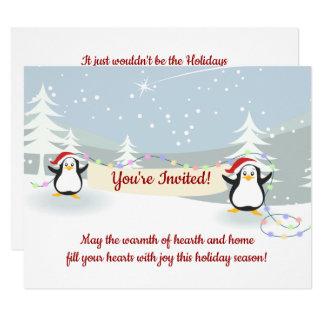 Convites da festa natalícia da cena do inverno dos