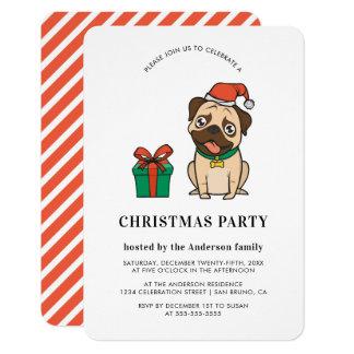 Convites da festa natalícia do Pug | do Natal do