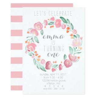 Convites da flor do rosa do primeiro aniversario