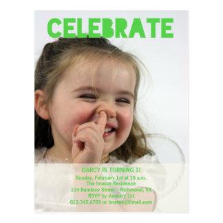 Convites da foto da festa de aniversário da menina cartões postais
