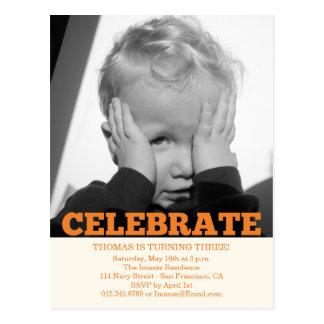 Convites da foto da festa de aniversário do menino cartao postal