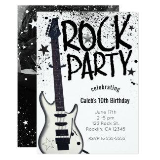 Convites da foto do aniversário da guitarra do
