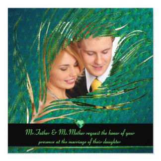 Convites da foto do casamento do pavão