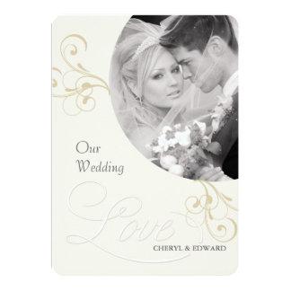 Convites da foto do casamento - marfim elegante do