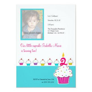 Convites da foto do cupcake, festa de aniversário