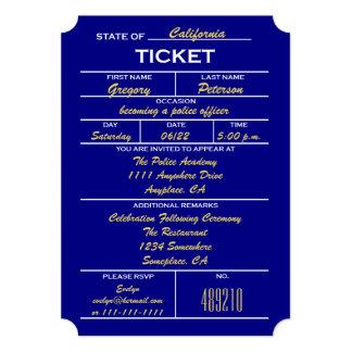 Convites da graduação da polícia do bilhete dos