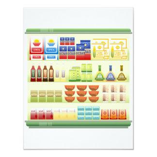 Convites da prateleira dos bens do supermercado