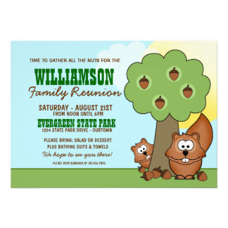Convites da reunião de família do esquilo