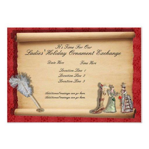 Convites da troca do ornamento do feriado das senh