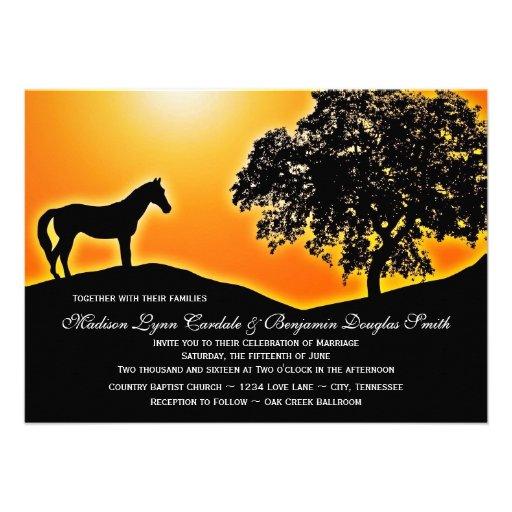 Convites de ardência do casamento do país do caval