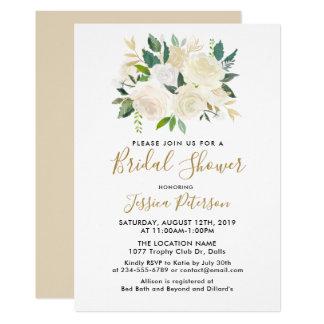 Convites de BridalShower das flores brancas da