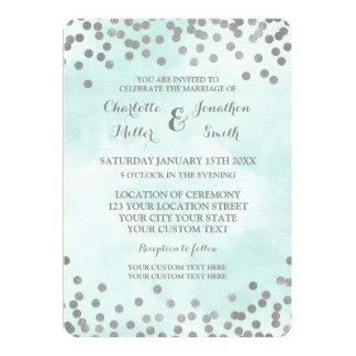 Convites de casamento azuis dos confetes da prata