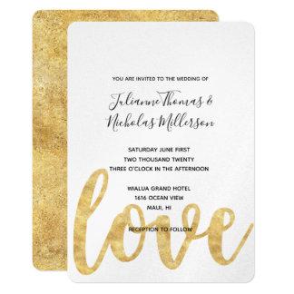 Convites de casamento brancos do amor do ouro
