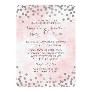 Convites de casamento cor-de-rosa dos confetes da