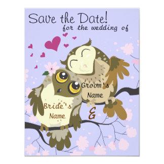 Convites de casamento da coruja dos pássaros do