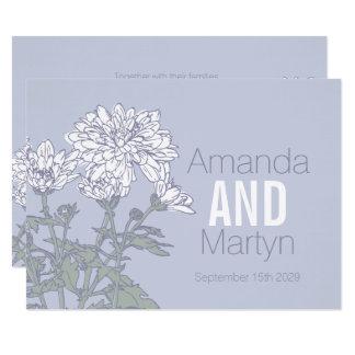 Convites de casamento da flor branca do crisântemo