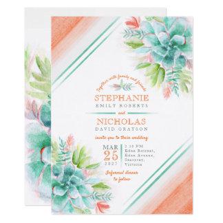 Convites de casamento da laranja do verde da