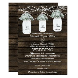Convites de casamento do frasco de pedreiro da