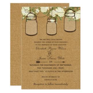 convites de casamento do frasco de pedreiro de