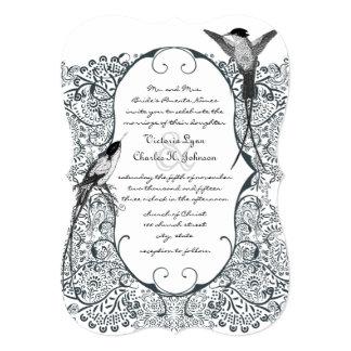 Convites de casamento do teste padrão do pássaro