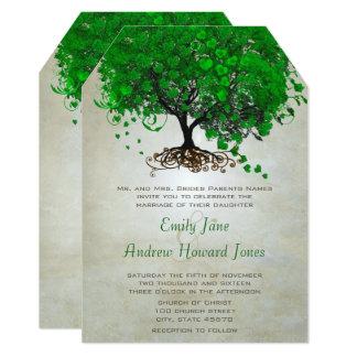 Convites de casamento esmeraldas da árvore da