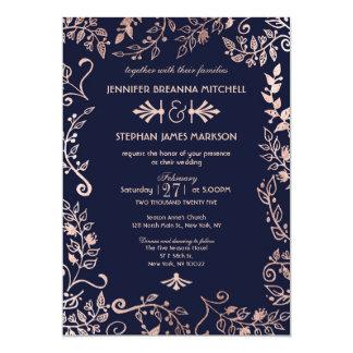Convites de casamento florais do ouro elegante do