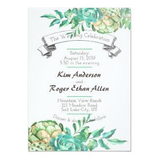 Convites de casamento florais do Succulent do