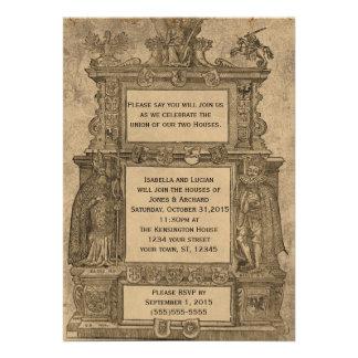 Convites de casamento góticos do Woodcut medieval