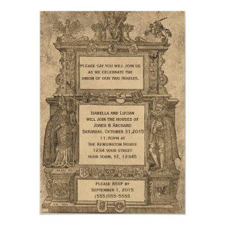 Convites de casamento góticos do Woodcut medieval Convite 12.7 X 17.78cm