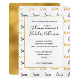 Convites de casamento pretos do amor do ouro