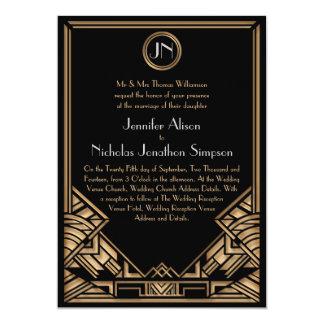 Convites de casamento pretos do estilo de Gatsby