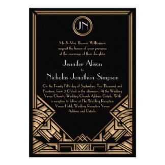 Convites de casamento pretos do estilo de Gatsby d
