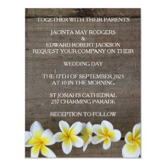 Convites de casamento rústicos do Frangipani/praia