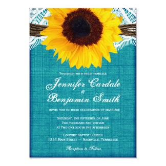 Convites de casamento rústicos do país do girassol