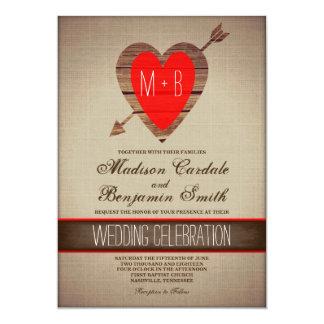 Convites de casamento vermelhos rústicos do país