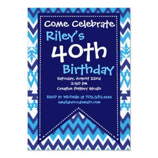 Convites de festas azuis do aniversário de 40 anos