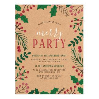 Convites de festas da feliz do azevinho & do pinho