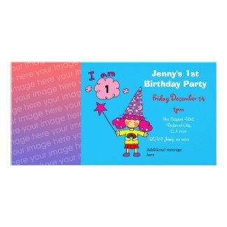 Convites de festas da menina do primeiro aniversar cartao com fotos personalizado