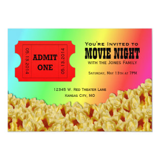 Convites de festas da noite de cinema do bilhete & convite 12.7 x 17.78cm